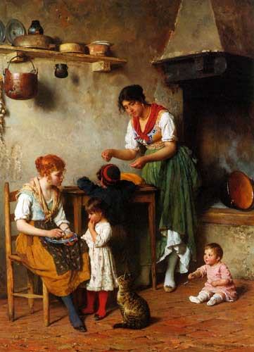 Painting Code#1005-Blaas, Eugene de(Austria): A Helping Hand