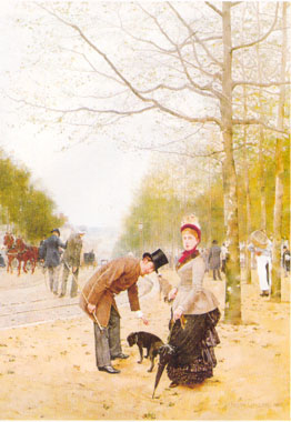 Oil Paintings Production:Gailliard, Francois(France): Promenade in the Park hspace=