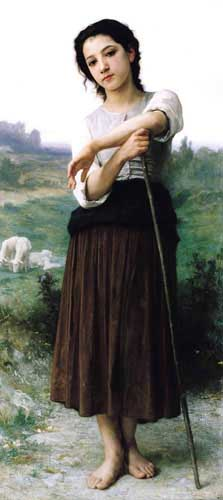 Painting Code#1045-Bouguereau, William(France): Young Shepherdess Standing