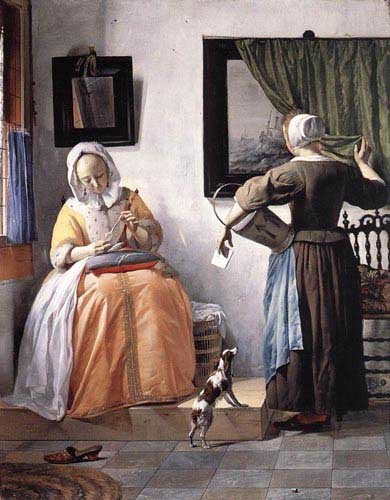 Painting Code#1050-Metsu, Gabriel(Holland): Woman Reading a Letter