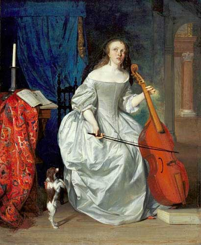 Painting Code#1051-Metsu, Gabriel(Holland): Woman Playing the Viola da Gamba