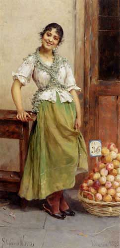 Painting Code#1064-Novo, Stefano(Italy): The Peach Seller