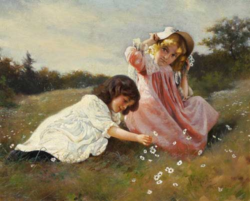 Oil Paintings Production:KARL WITKOWSKI(USA): Gathering Daisies hspace=