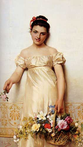 Painting Code#1093-Costa, Giovanni(Italy): A Young Lady Holding A Basket Of Flowers