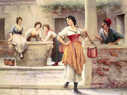 Painting Code#11049-Blaas, Eugene de(Austria): Flirtation at the Well