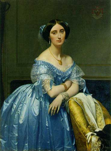 Painting Code#1203-Ingres: Portrait of Princesse de Broglie