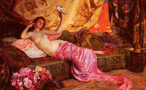Oil Paintings Production:Rochegrosse, Georges Antoine (France): Nude at Rest hspace=
