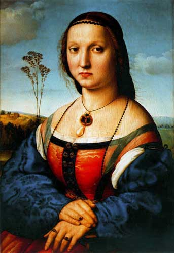 Painting Code#15453-Raphael - Portrait of Maddalena Doni