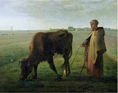 Painting Code#15498-Millet, Jean-Francois - Woman Grazing Her Cow