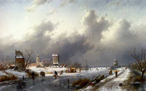 Painting Code#20056-Leickert, Charles Henri Joseph(Belgium): A Frozen Winter Landscape With Skaters
