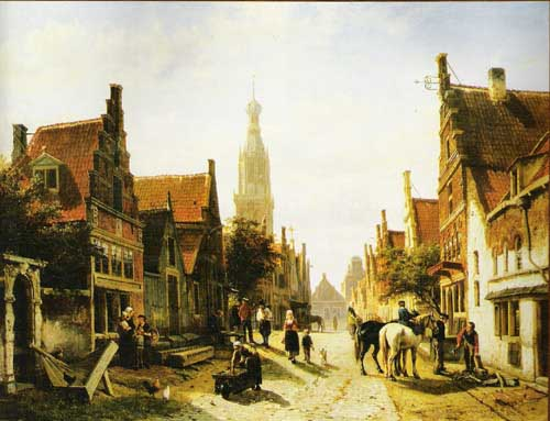 Painting Code#20084-Cornelis Springer: Town View