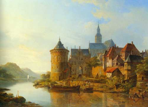 Oil Paintings Production:Cornelis Springer: A View of a Town Along the Rhine hspace=