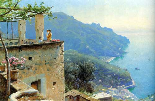 Oil Paintings Production:Monsted, Peder Mork(Denmark): The Ravello Coastline