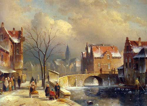 Oil Paintings Production:Leickert, Charles Henri Joseph(Belgium): Winter Villagers on a Snowy Street by a Canal hspace=