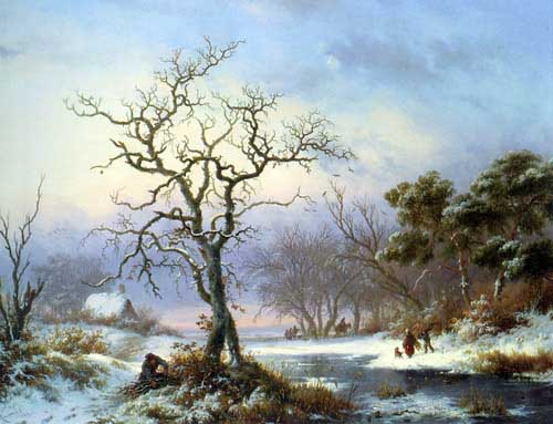 Painting Code#2050-Kruseman, Frederik Marianus(Holland): Faggot Gatherers in a Winter Landscape