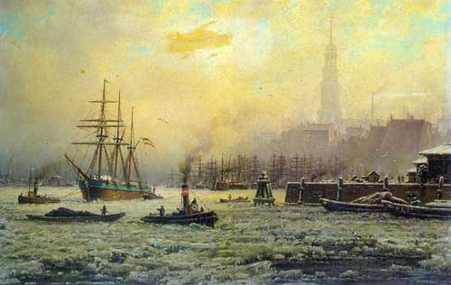 Oil Paintings Production:Schmitz, Georg: View of the Harbour of Hamburg in the Winter