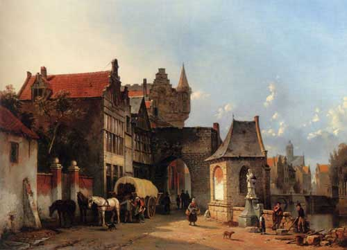 Oil Paintings Production:Carabain, Jacques(Belgium): Figures By An Old City Gate