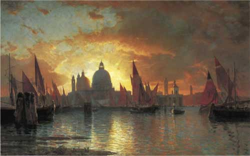 Oil Paintings Production:2061-William Stanley Haseltine - Santa Maria della Salute, Sunset hspace=