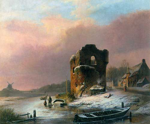 Oil Paintings Production:Jonxis, Pieter Hendrik: Winter Landscape with Frozen River