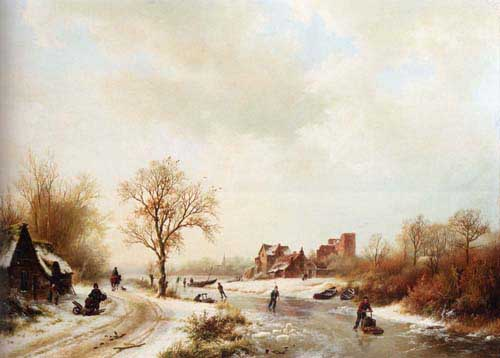 Oil Paintings Production:Koekkoek, Barend Cornelis (Holland): A Winter Landscape With Skaters On A Frozen Waterway hspace=