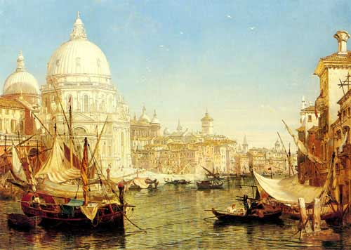 Painting Code#2803-Selous, Henry Courtney(UK): A Venetian Canal Scene with the Santa Maria della Salute