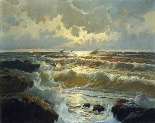 Oil Paintings Production:Edward Moran - Homeward Bound hspace=
