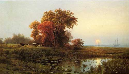 Painting Code#2951-Edward Moran - Sunset on the Marsh