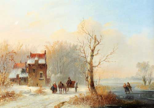 Oil Paintings Production:Stok, Jacobus Van Der: A Winter Landscape With Skaters On A Frozen waterway And A Horse-drawn Cart On A Snow-covered Track hspace=