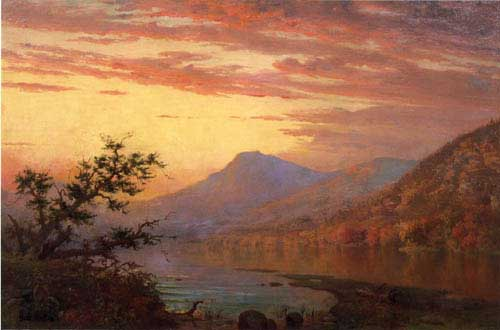 Oil Paintings Production:Homer Dodge Martin - Sunset, Adirondack Lake hspace=