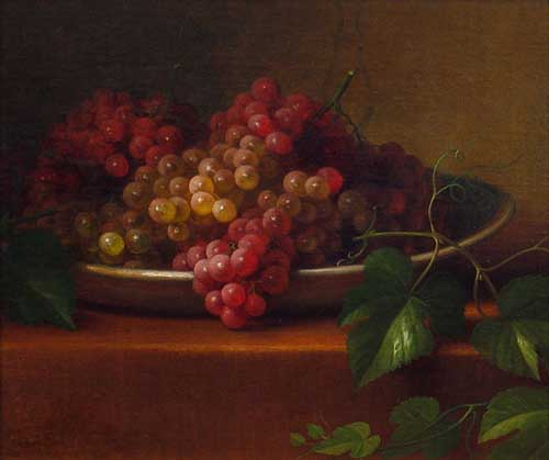 Oil Paintings Production:GEORGE HENRY HALL: Grapes in a Porcelain Bowl hspace=