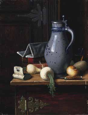 Oil Paintings Production:David Blythe - Still Life with Turnips and Beer Stein hspace=