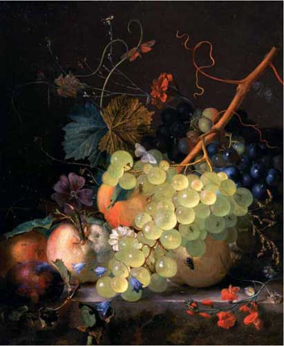 Oil Paintings Production:Jan van Huysum - Still Life of Grapes and a Peach on a Table-top hspace=