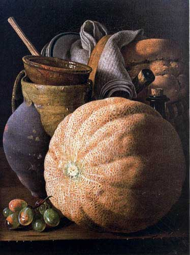 Oil Paintings Production:Melendez, Louis(Spain): Melon And other fruit  hspace=
