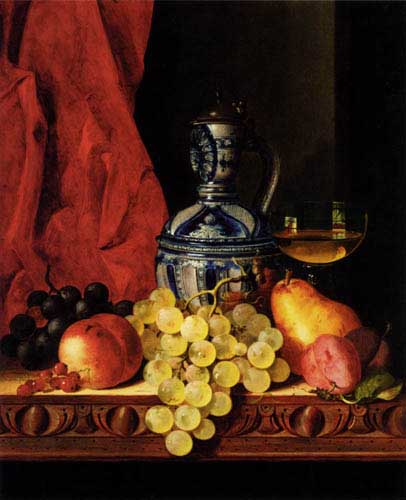 Oil Paintings Production:Ladell, Edward: Still Life With Grapes, A Peach, Plums And A Pear On A Table With A Wine Glass And A Flask hspace=