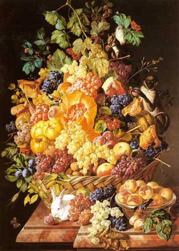 Oil Paintings Production:Zinnogger, Leopold(Austria): A Basket Of Fruit With Animals hspace=