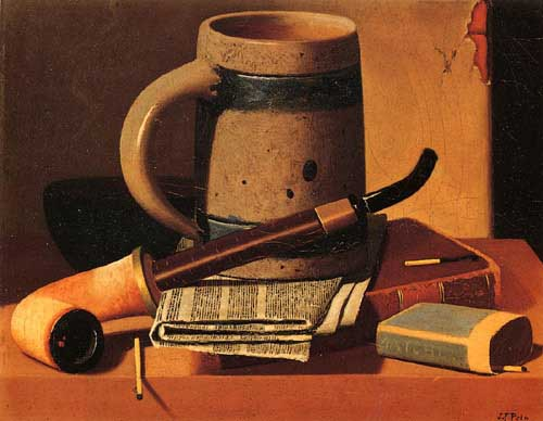 Painting Code#3656-John Frederick Peto - Still Life with Pipe, Beer Stein, Newspaper, Book and Matches