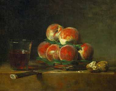 Painting Code#3745-Chardin, Jean-Baptiste-Simeon - Chest with With Peaches and Nuts