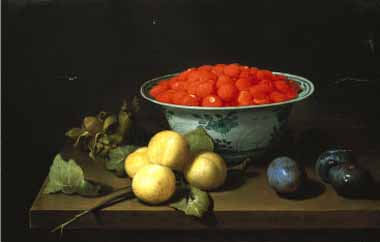 Painting Code#3787-Joseph Bail - Strawberries in a Bowl, with Other Fruit, on a Table