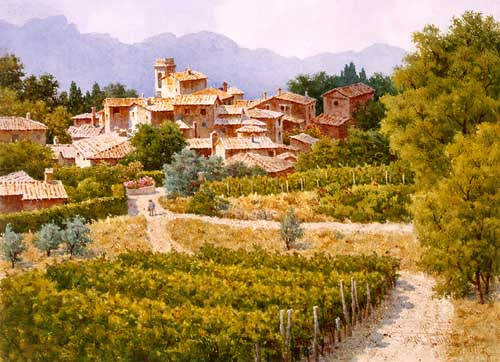 Oil Paintings Production:Tuscany Landscape hspace=
