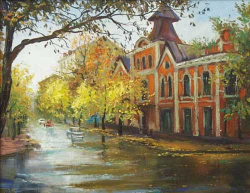 Oil Paintings Production:Belobrovsky Alexander: (City) Autumn Rain hspace=