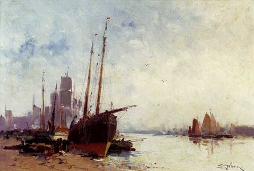 Oil Paintings Production:Galien-Laloue, Eugene(France): Shipping In The Docks 