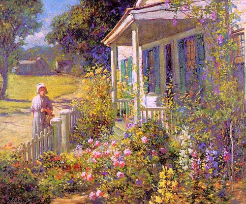 Oil Paintings Production:Graves, Abbott Fuller(USA): Summer Garden hspace=
