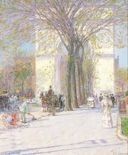 Oil Paintings Production:Hassam, Childe(USA): Washington Arch in Spring hspace=