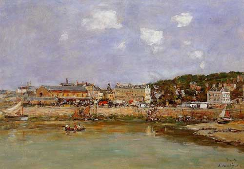 Oil Paintings Production:Eugene-Louis Boudin: The Port of Trouville, the Market Place and the Ferry hspace=