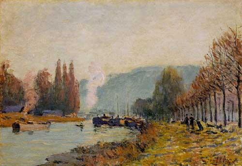 Oil Paintings Production:Sisley, Alfred: The Seine at Bougival hspace=