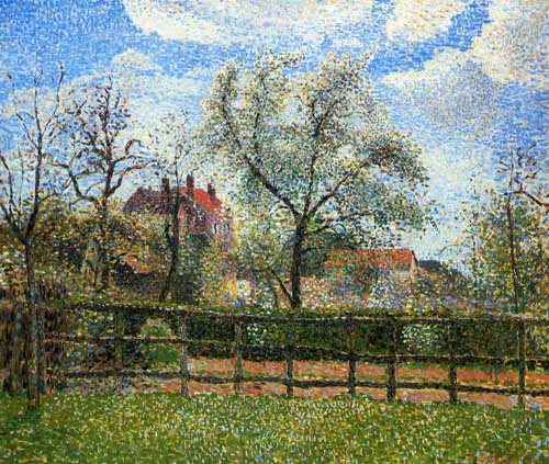 Painting Code#40248-Pissaro, Camille - Pear Tress in Bloom, Eragny, Morning