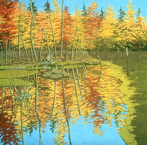 Oil Paintings Production:Neil Welliver: Autumn Reflection  hspace=