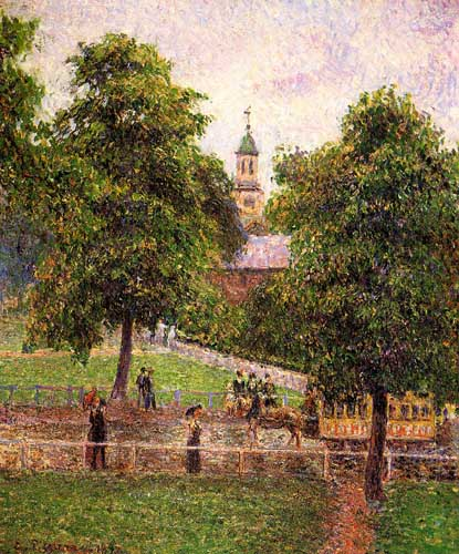 Painting Code#41680-Pissarro, Camille - Church at Kew