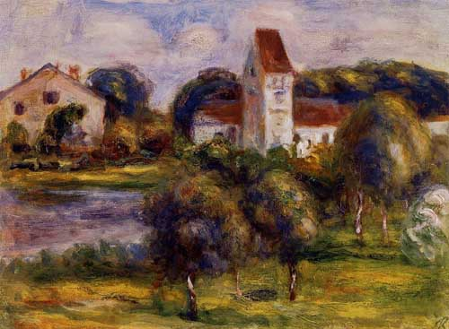 Oil Paintings Production:Renoir, Pierre-Auguste - Breton Landscape - Church and Orchard hspace=
