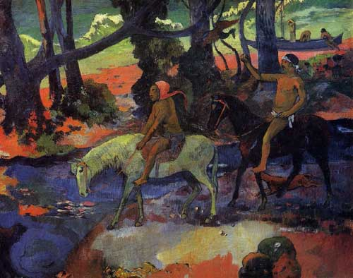 Painting Code#42211-Gauguin, Paul - The Ford (also known as Flight)